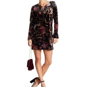 Wild Pearl Velvet Print Lace-Up Mini Dress